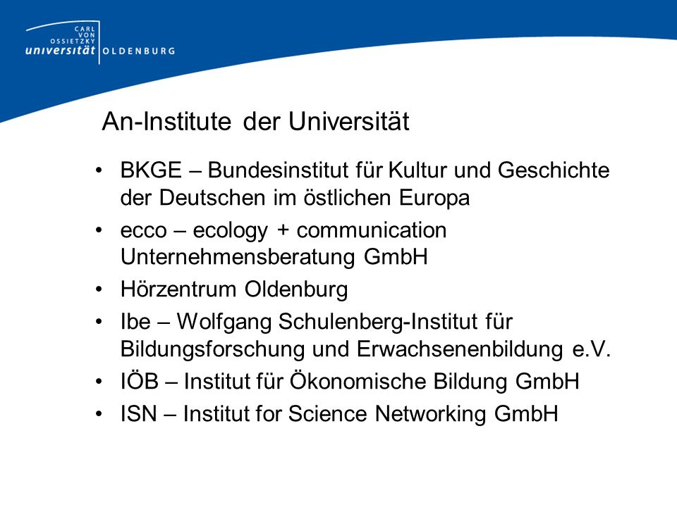An-Institute der Universität BKGE – Bundesinstitut für Kultur und Geschichte der Deutschen im östlichen Europa ecco – ecology + communication Unterneh