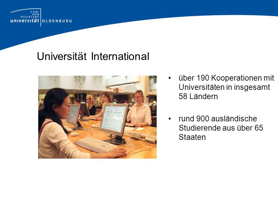 Universität International über 190 Kooperationen mit Universitäten in insgesamt 58 Ländern rund 900 ausländische Studierende aus über 65 Staaten