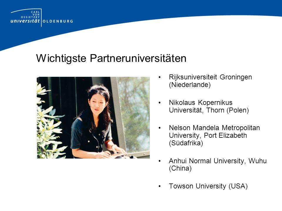 Wichtigste Partneruniversitäten Rijksuniversiteit Groningen (Niederlande) Nikolaus Kopernikus Universität, Thorn (Polen) Nelson Mandela Metropolitan U