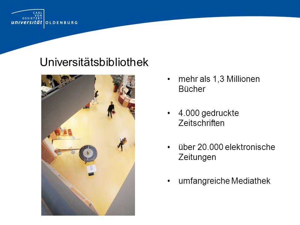 Universitätsbibliothek mehr als 1,3 Millionen Bücher 4.000 gedruckte Zeitschriften über 20.000 elektronische Zeitungen umfangreiche Mediathek