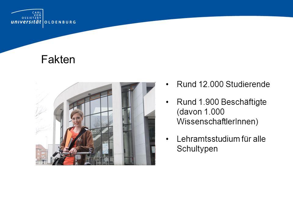 Fakten Rund 12.000 Studierende Rund 1.900 Beschäftigte (davon 1.000 WissenschaftlerInnen) Lehramtsstudium für alle Schultypen
