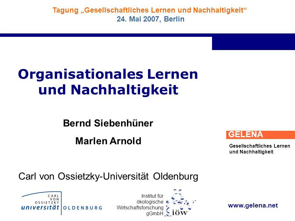 Institut für ökologische Wirtschaftsforschung gGmbH GELENA Gesellschaftliches Lernen und Nachhaltigkeit Tagung Gesellschaftliches Lernen und Nachhaltigkeit 24.
