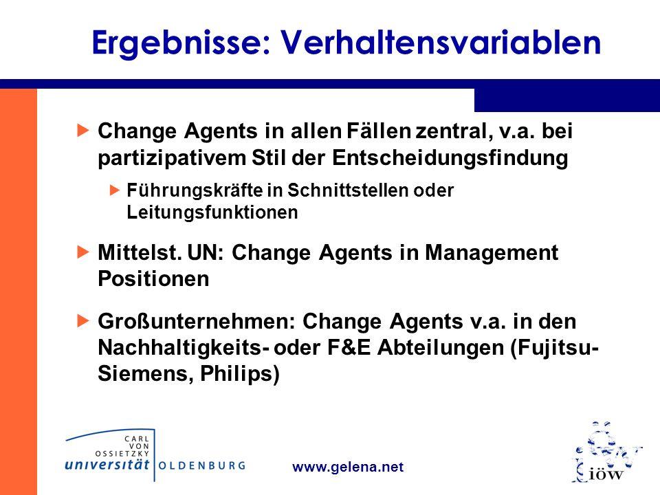 www.gelena.net Ergebnisse: Verhaltensvariablen Change Agents in allen Fällen zentral, v.a.