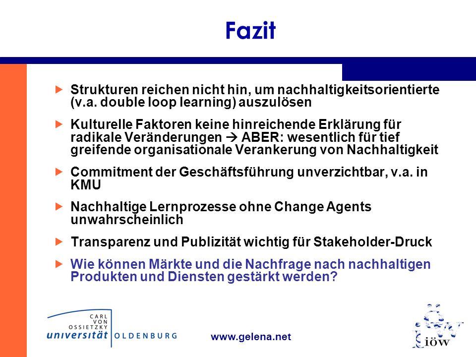 www.gelena.net Fazit Strukturen reichen nicht hin, um nachhaltigkeitsorientierte (v.a.