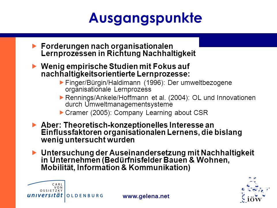 www.gelena.net Ausgangspunkte Forderungen nach organisationalen Lernprozessen in Richtung Nachhaltigkeit Wenig empirische Studien mit Fokus auf nachhaltigkeitsorientierte Lernprozesse: Finger/Bürgin/Haldimann (1996): Der umweltbezogene organisationale Lernprozess Rennings/Ankele/Hoffmann et al.