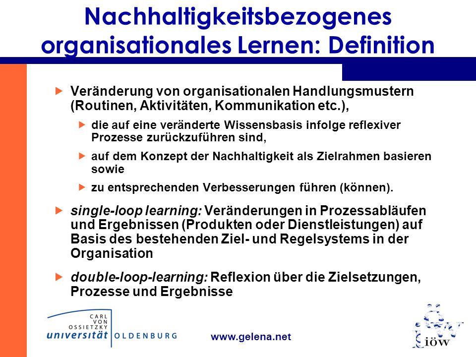 www.gelena.net Nachhaltigkeitsbezogenes organisationales Lernen: Definition Veränderung von organisationalen Handlungsmustern (Routinen, Aktivitäten, Kommunikation etc.), die auf eine veränderte Wissensbasis infolge reflexiver Prozesse zurückzuführen sind, auf dem Konzept der Nachhaltigkeit als Zielrahmen basieren sowie zu entsprechenden Verbesserungen führen (können).