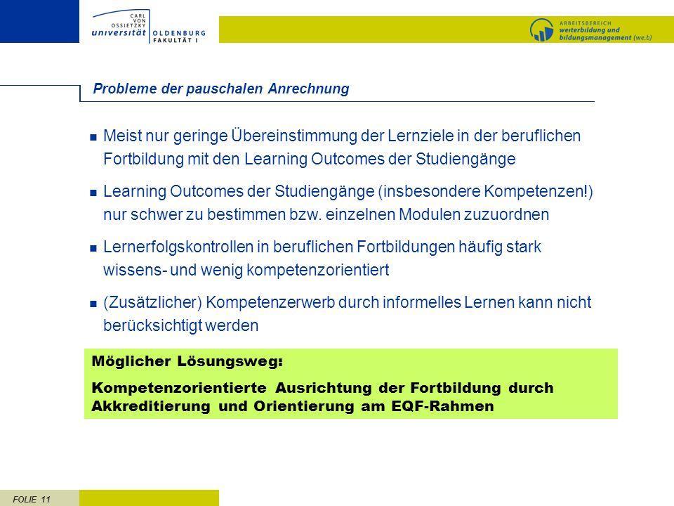 FOLIE 11 Probleme der pauschalen Anrechnung Meist nur geringe Übereinstimmung der Lernziele in der beruflichen Fortbildung mit den Learning Outcomes d
