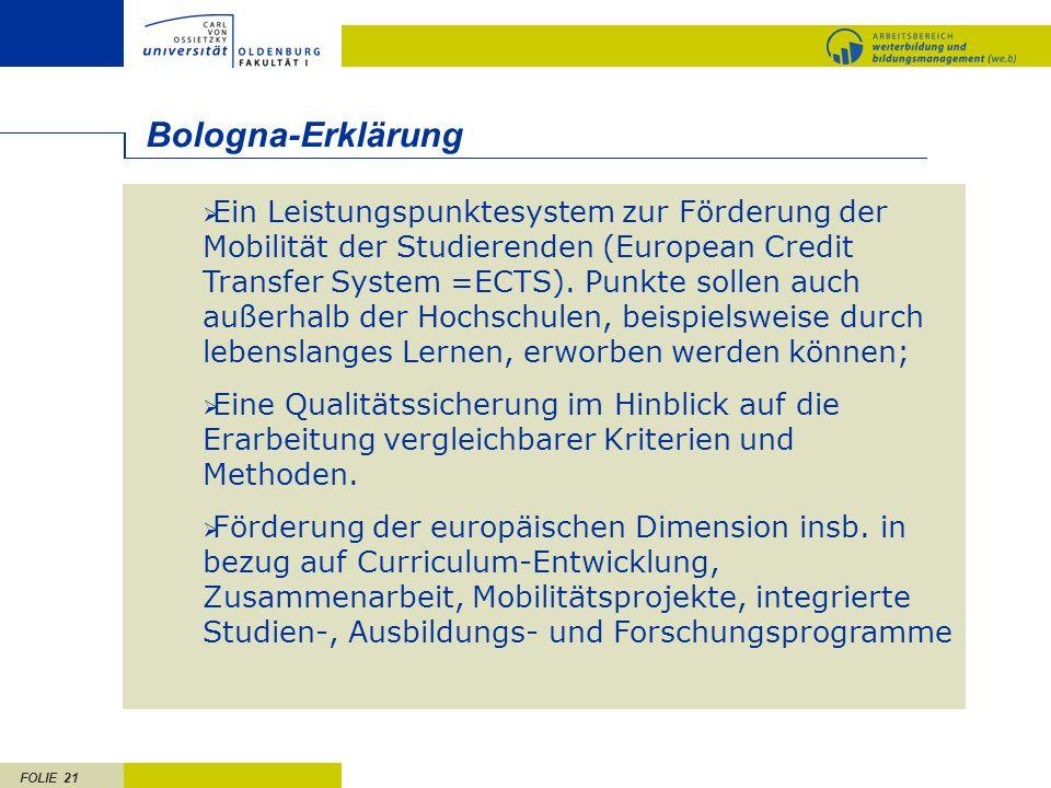 FOLIE 21 Ein Leistungspunktesystem zur Förderung der Mobilität der Studierenden (European Credit Transfer System =ECTS). Punkte sollen auch außerhalb