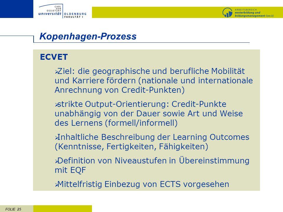 FOLIE 25 ECVET Ziel: die geographische und berufliche Mobilität und Karriere fördern (nationale und internationale Anrechnung von Credit-Punkten) stri