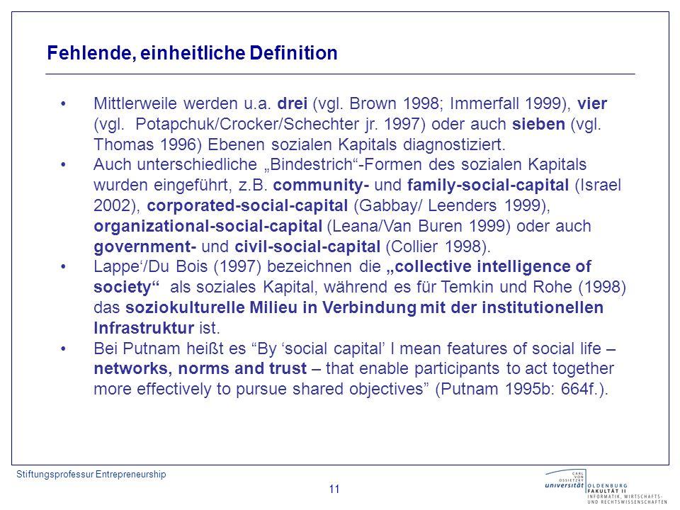 Stiftungsprofessur Entrepreneurship 11 Fehlende, einheitliche Definition Mittlerweile werden u.a. drei (vgl. Brown 1998; Immerfall 1999), vier (vgl. P