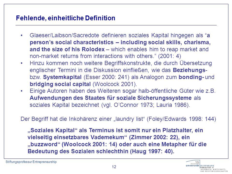Stiftungsprofessur Entrepreneurship 12 Fehlende, einheitliche Definition Glaeser/Laibson/Sacredote definieren soziales Kapital hingegen als a persons