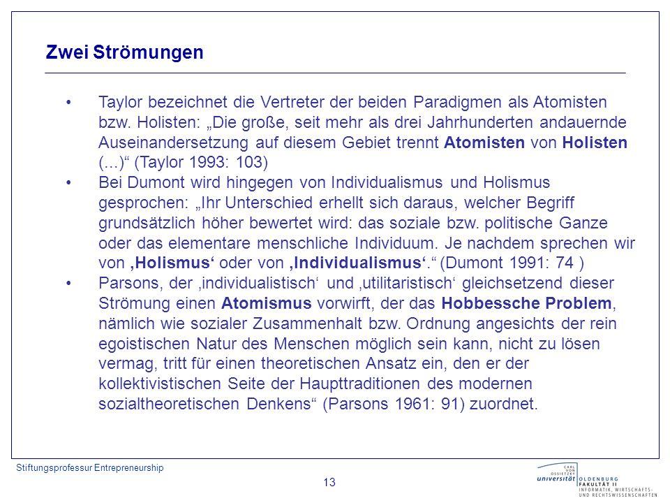 Stiftungsprofessur Entrepreneurship 13 Zwei Strömungen Taylor bezeichnet die Vertreter der beiden Paradigmen als Atomisten bzw. Holisten: Die große, s