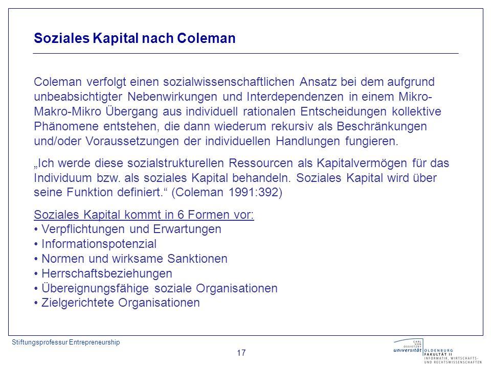 Stiftungsprofessur Entrepreneurship 17 Soziales Kapital nach Coleman Coleman verfolgt einen sozialwissenschaftlichen Ansatz bei dem aufgrund unbeabsic