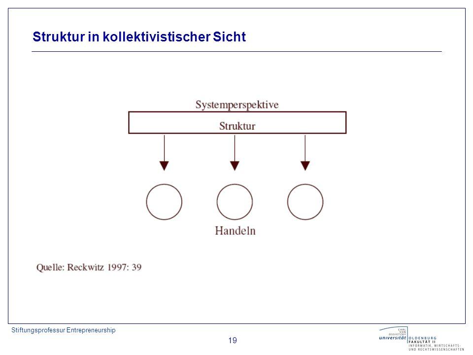 Stiftungsprofessur Entrepreneurship 19 Struktur in kollektivistischer Sicht