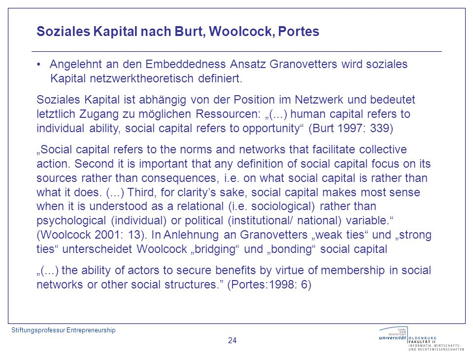 Stiftungsprofessur Entrepreneurship 24 Soziales Kapital nach Burt, Woolcock, Portes Angelehnt an den Embeddedness Ansatz Granovetters wird soziales Ka