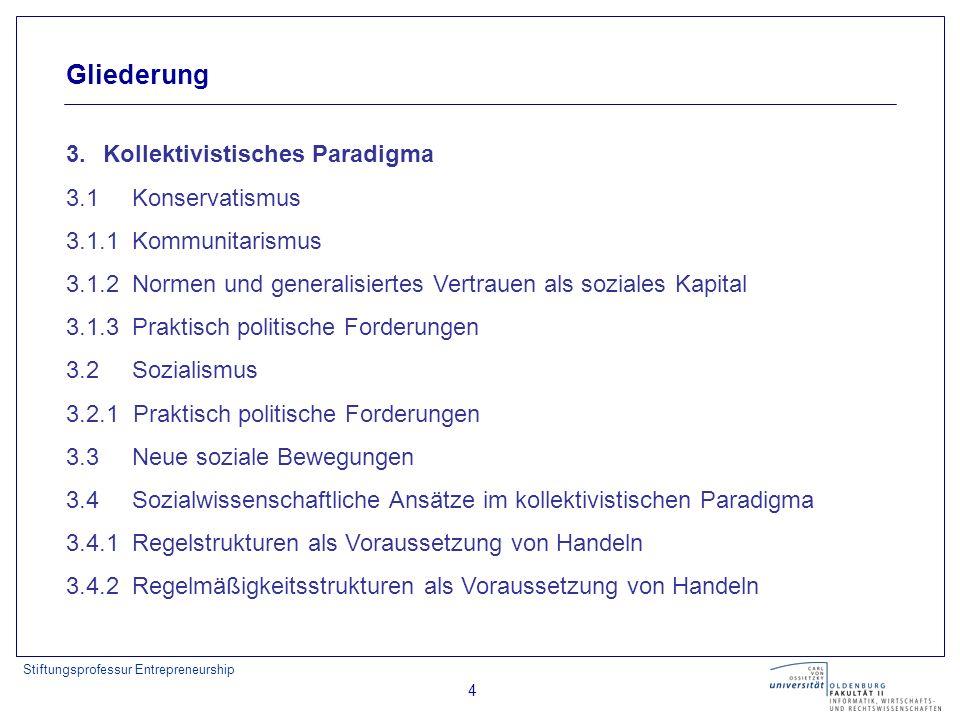 Stiftungsprofessur Entrepreneurship 4 Gliederung 3. Kollektivistisches Paradigma 3.1 Konservatismus 3.1.1 Kommunitarismus 3.1.2 Normen und generalisie