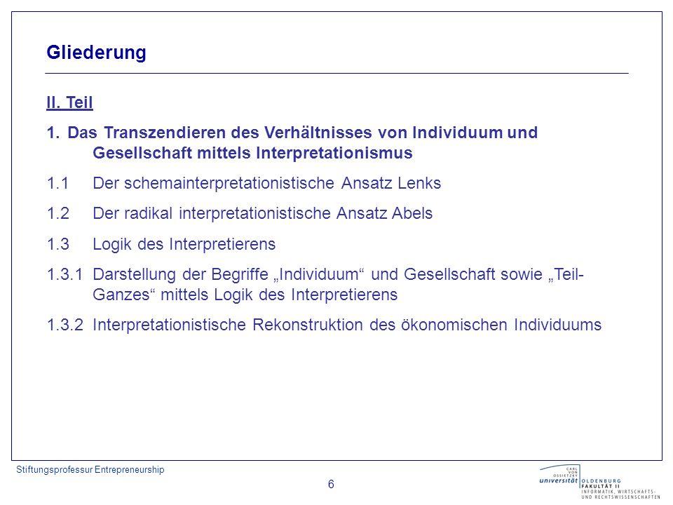 Stiftungsprofessur Entrepreneurship 6 Gliederung II. Teil 1. Das Transzendieren des Verhältnisses von Individuum und Gesellschaft mittels Interpretati