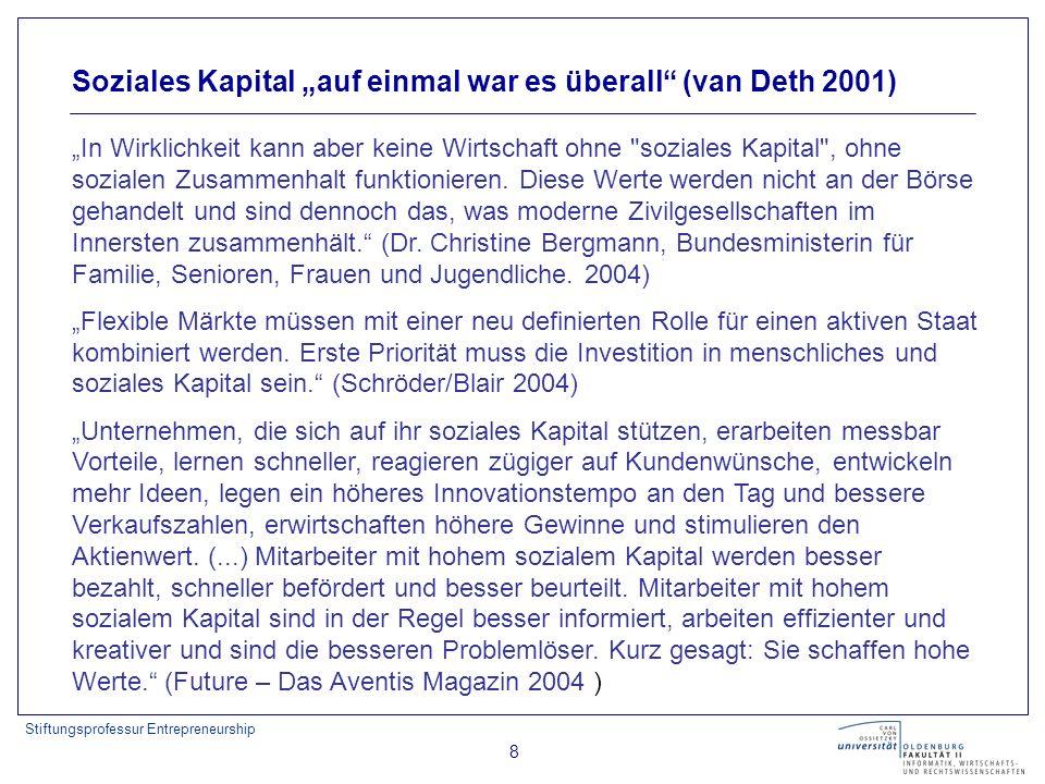 Stiftungsprofessur Entrepreneurship 8 Soziales Kapital auf einmal war es überall (van Deth 2001) In Wirklichkeit kann aber keine Wirtschaft ohne