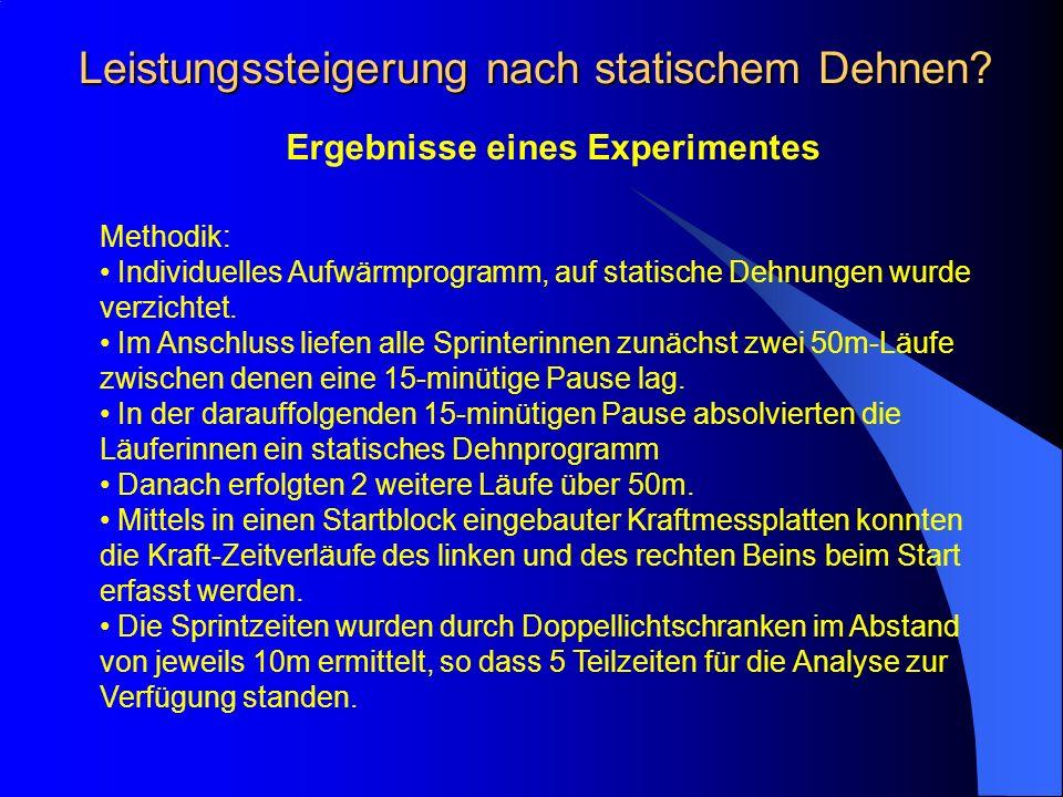 Leistungssteigerung nach statischem Dehnen? Ergebnisse eines Experimentes Methodik: Individuelles Aufwärmprogramm, auf statische Dehnungen wurde verzi