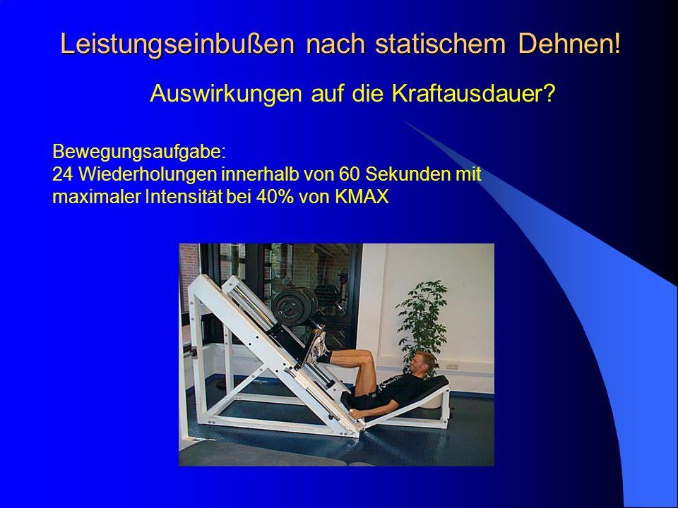 Leistungseinbußen nach statischem Dehnen! Auswirkungen auf die Kraftausdauer? Bewegungsaufgabe: 24 Wiederholungen innerhalb von 60 Sekunden mit maxima