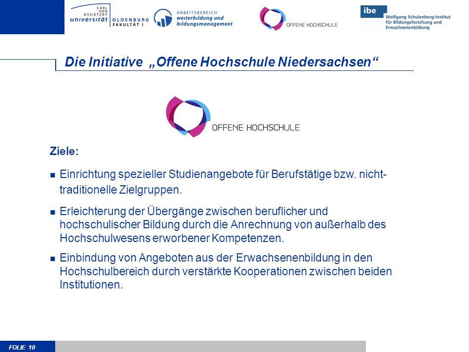 FOLIE 10 Die Initiative Offene Hochschule Niedersachsen Ziele: Einrichtung spezieller Studienangebote für Berufstätige bzw.