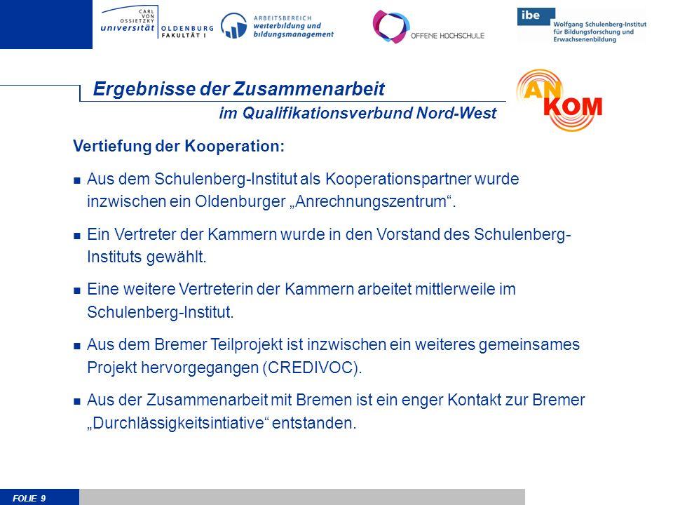 FOLIE 9 Ergebnisse der Zusammenarbeit Vertiefung der Kooperation: Aus dem Schulenberg-Institut als Kooperationspartner wurde inzwischen ein Oldenburger Anrechnungszentrum.