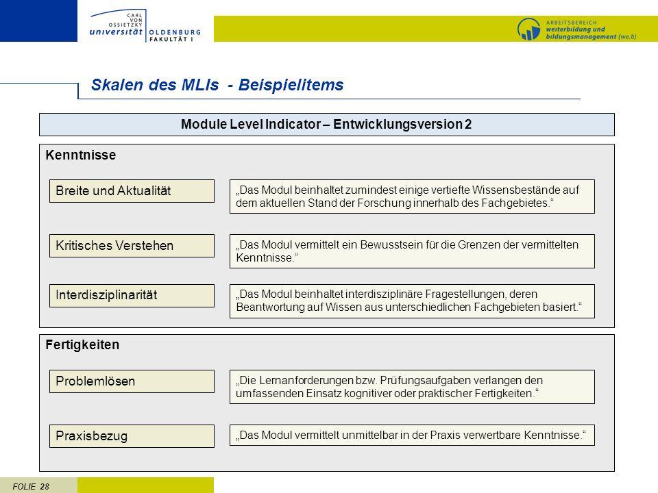 FOLIE 28 Skalen des MLIs - Beispielitems Kenntnisse Module Level Indicator – Entwicklungsversion 2 Breite und Aktualität Kritisches Verstehen Interdis