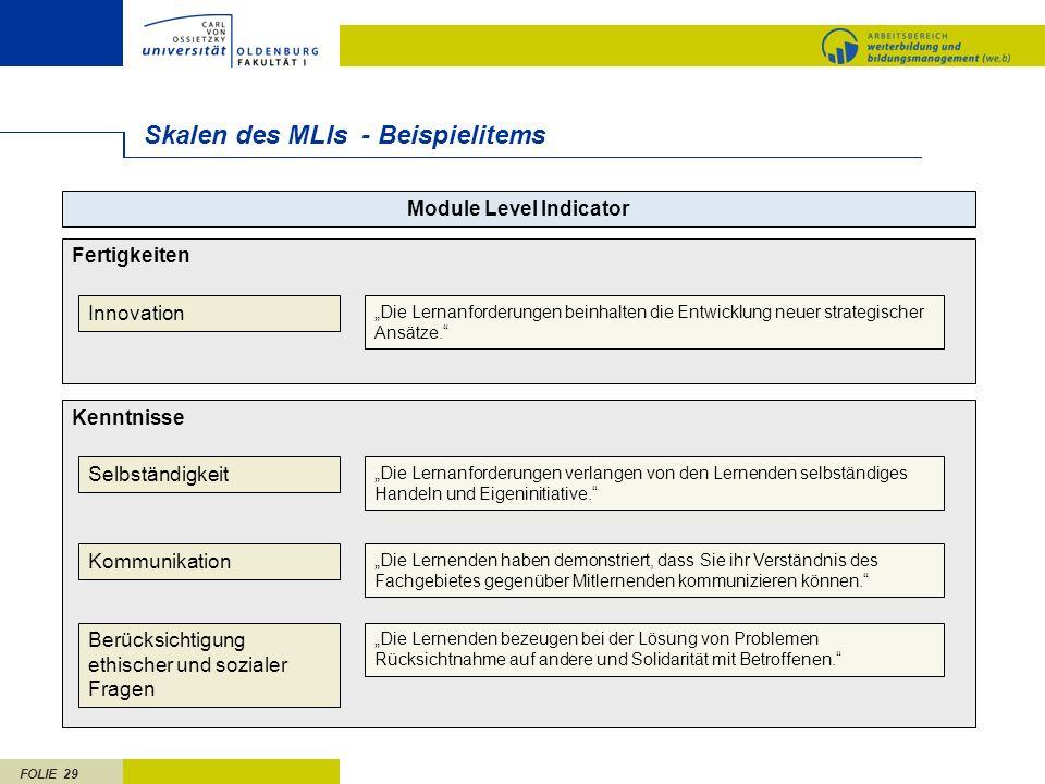 FOLIE 29 Skalen des MLIs - Beispielitems Module Level Indicator Kenntnisse Selbständigkeit Kommunikation Berücksichtigung ethischer und sozialer Frage