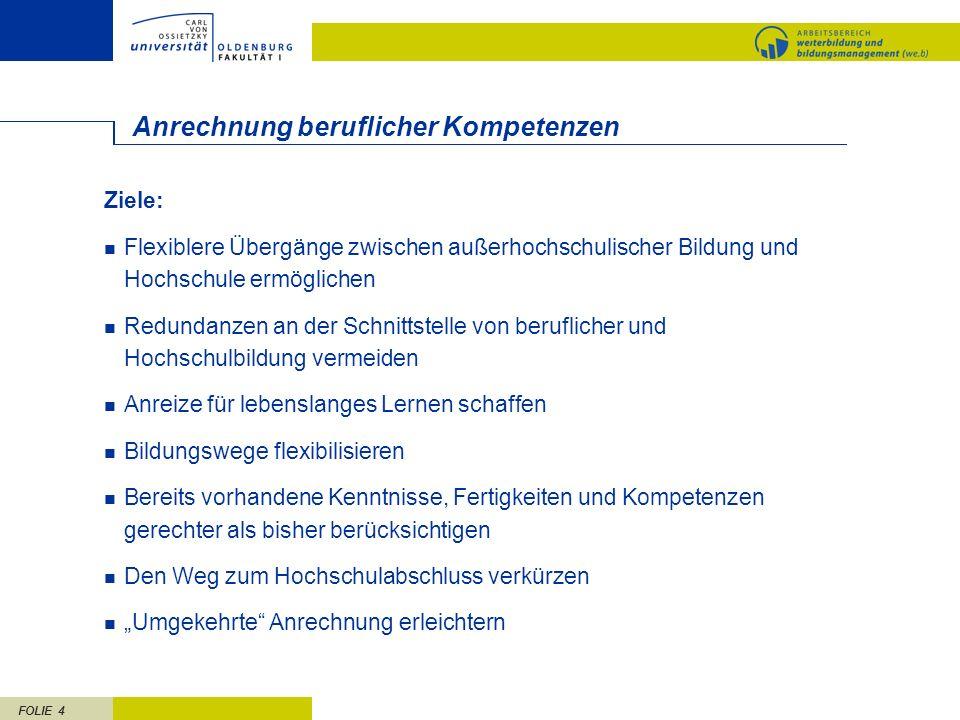 FOLIE 5 Politische Grundlagen der Anrechnung Europa Bologna-Prozess (u.a.