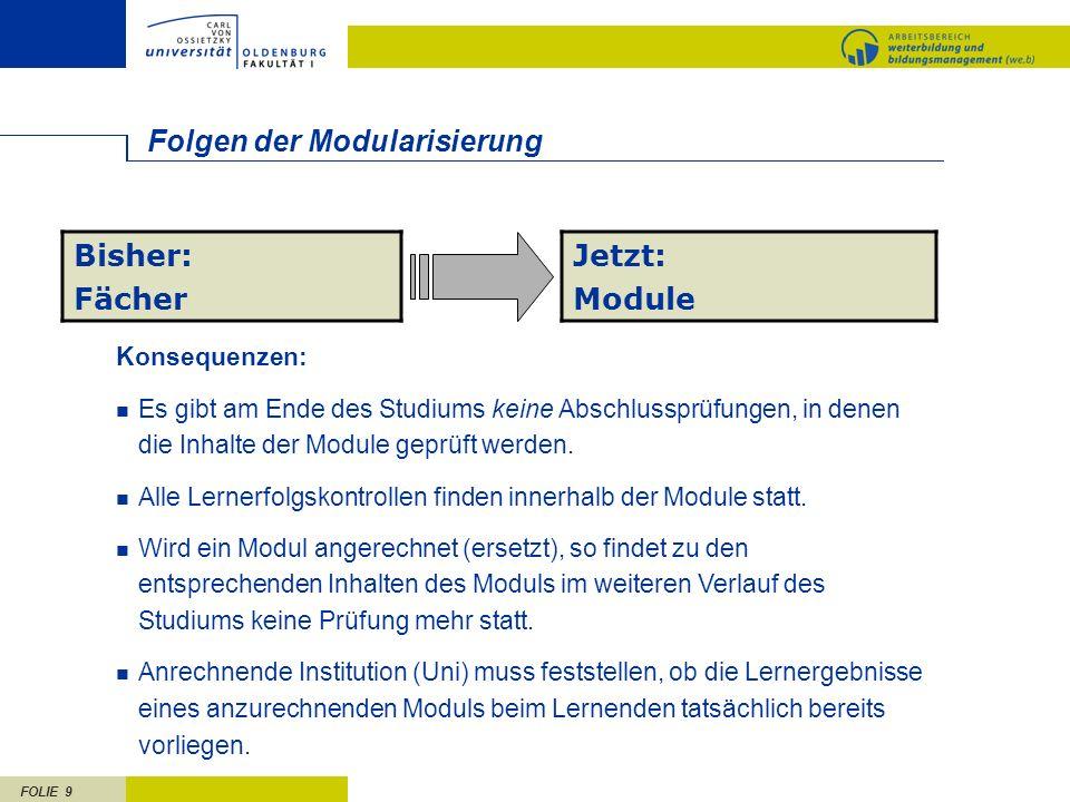 FOLIE 9 Folgen der Modularisierung Bisher: Fächer Jetzt: Module Konsequenzen: Es gibt am Ende des Studiums keine Abschlussprüfungen, in denen die Inha
