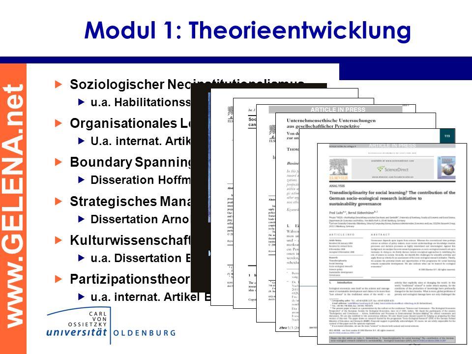 www.GELENA.net Modul 1: Theorieentwicklung Soziologischer Neoinstitutionalismus u.a. Habilitationsschrift Beschorner Organisationales Lernen U.a. inte