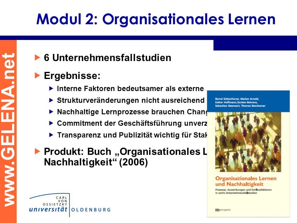 www.GELENA.net Modul 2: Organisationales Lernen 6 Unternehmensfallstudien Ergebnisse: Interne Faktoren bedeutsamer als externe Strukturveränderungen n
