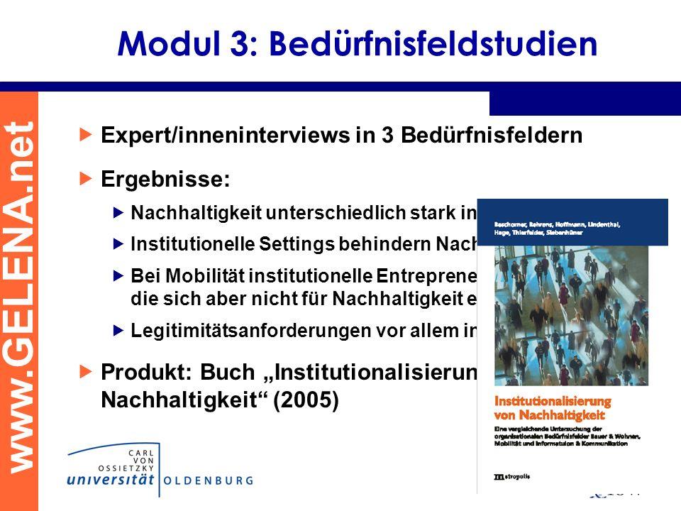 www.GELENA.net Modul 3: Bedürfnisfeldstudien Expert/inneninterviews in 3 Bedürfnisfeldern Ergebnisse: Nachhaltigkeit unterschiedlich stark institution