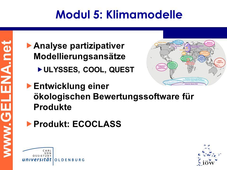 www.GELENA.net Modul 5: Klimamodelle Analyse partizipativer Modellierungsansätze ULYSSES, COOL, QUEST Entwicklung einer ökologischen Bewertungssoftwar