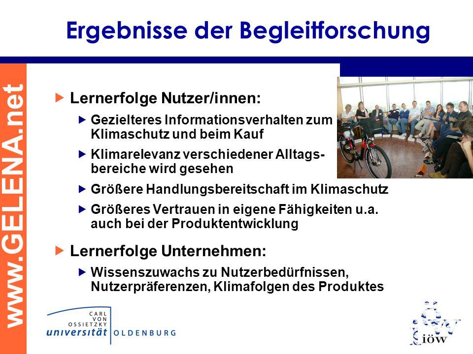 www.GELENA.net Ergebnisse der Begleitforschung Lernerfolge Nutzer/innen: Gezielteres Informationsverhalten zum Klimaschutz und beim Kauf Klimarelevanz