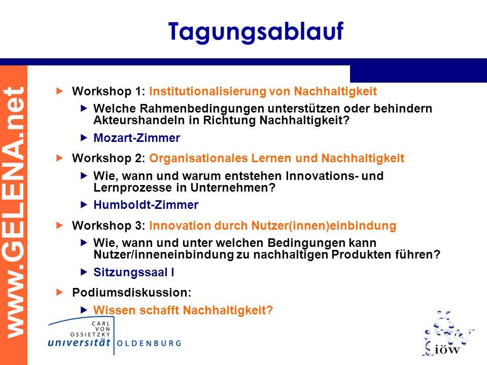www.GELENA.net Tagungsablauf Workshop 1: Institutionalisierung von Nachhaltigkeit Welche Rahmenbedingungen unterstützen oder behindern Akteurshandeln