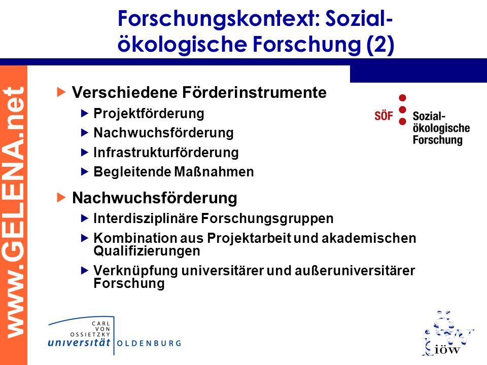www.GELENA.net Forschungskontext: Sozial- ökologische Forschung (2) Verschiedene Förderinstrumente Projektförderung Nachwuchsförderung Infrastrukturfö