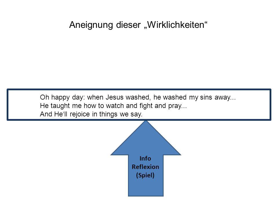 Aneignung dieser Wirklichkeiten Info Reflexion (Spiel) Oh happy day: when Jesus washed, he washed my sins away... He taught me how to watch and fight