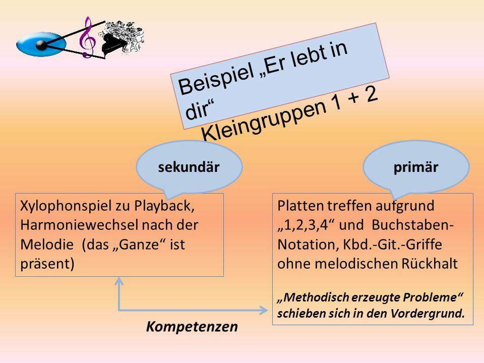 Platten treffen aufgrund 1,2,3,4 und Buchstaben- Notation, Kbd.-Git.-Griffe ohne melodischen Rückhalt Methodisch erzeugte Probleme schieben sich in de