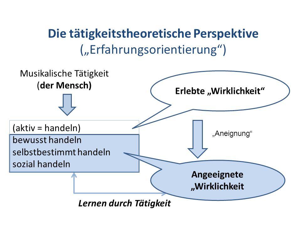 Die tätigkeitstheoretische Perspektive (Erfahrungsorientierung) Musikalische Tätigkeit (der Mensch) Lernen durch Tätigkeit Erlebte Wirklichkeit Angeei