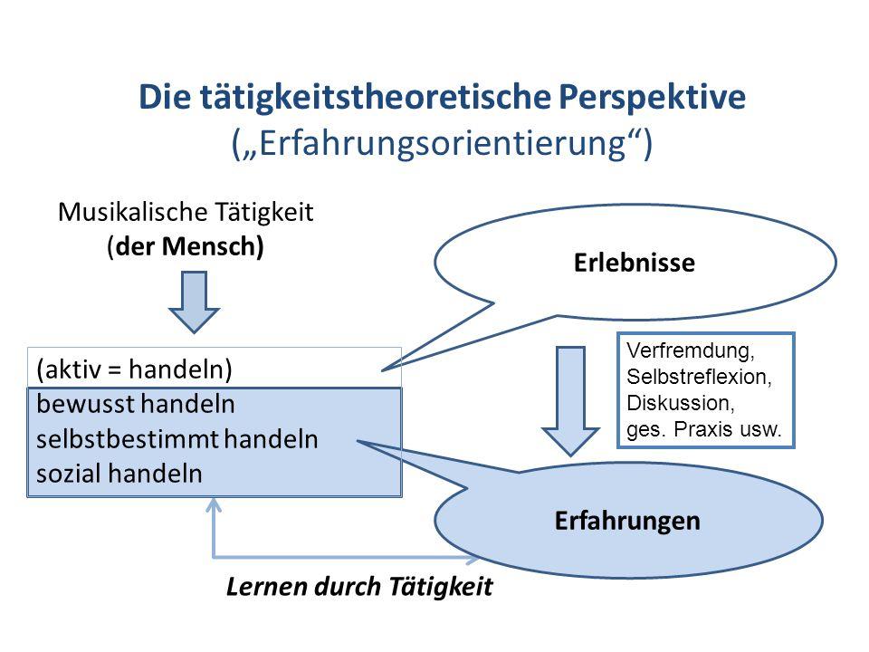 Die tätigkeitstheoretische Perspektive (Erfahrungsorientierung) Musikalische Tätigkeit (der Mensch) Lernen durch Tätigkeit Erlebnisse Erfahrungen (akt