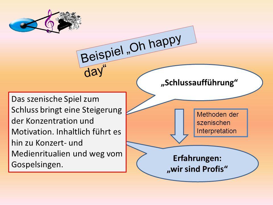 Erfahrungen: wir sind Profis Beispiel Oh happy day Schlussaufführung Methoden der szenischen Interpretation Das szenische Spiel zum Schluss bringt ein