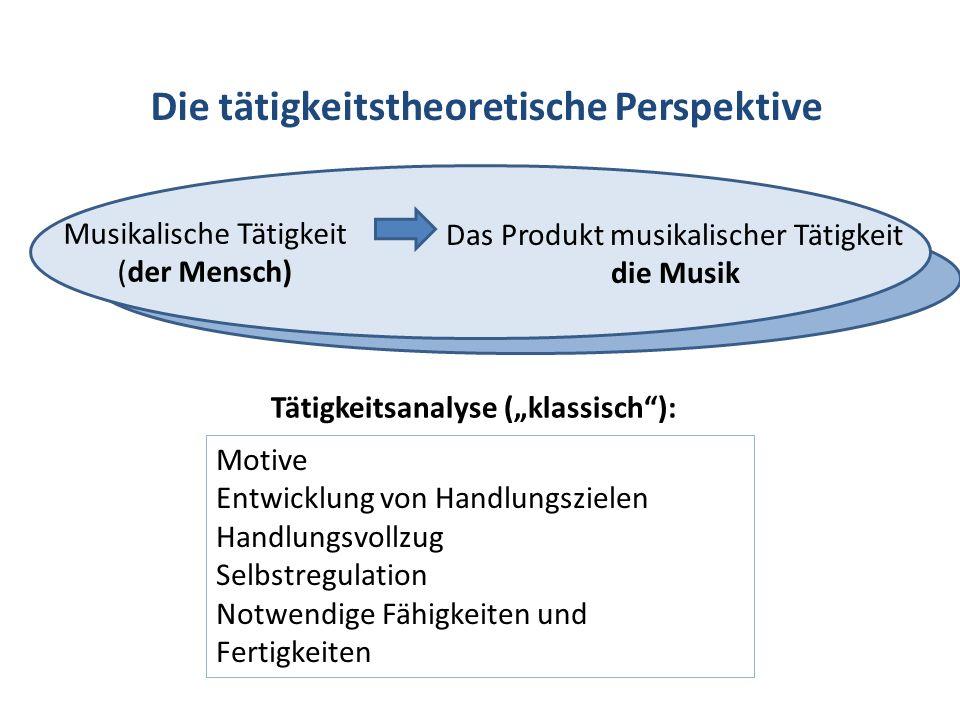 Die tätigkeitstheoretische Perspektive Musikalische Tätigkeit (der Mensch) Das Produkt musikalischer Tätigkeit die Musik Tätigkeitsanalyse (klassisch)