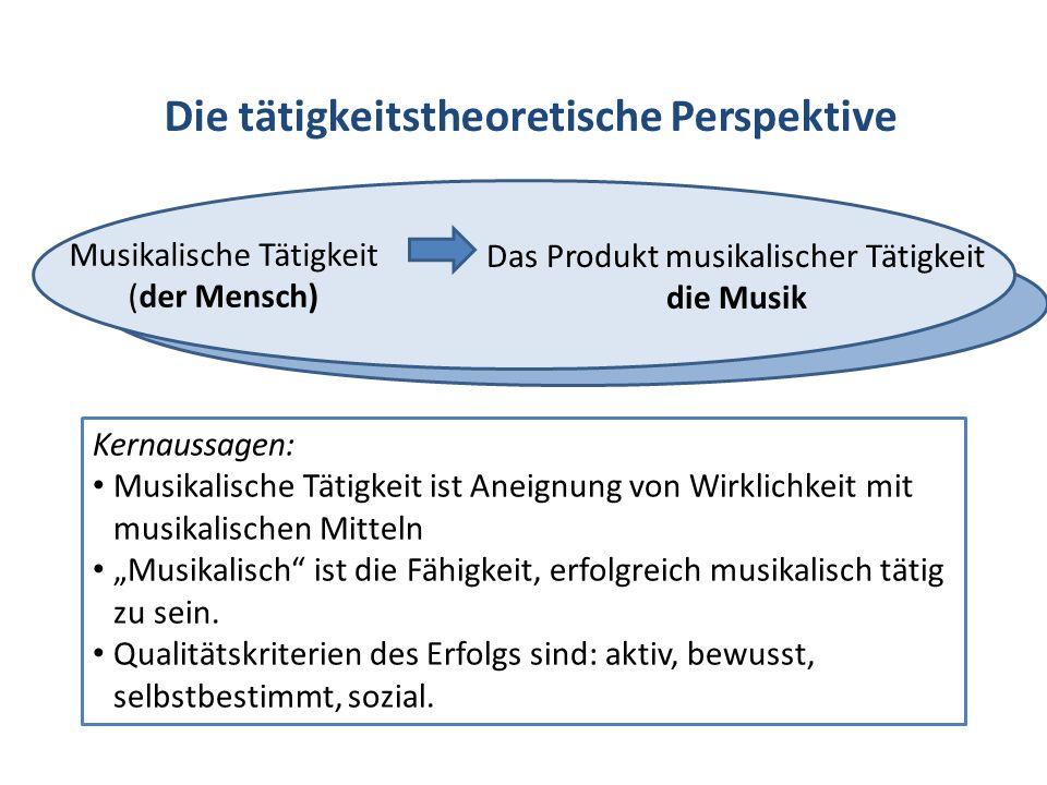 Die tätigkeitstheoretische Perspektive Musikalische Tätigkeit (der Mensch) Das Produkt musikalischer Tätigkeit die Musik Kernaussagen: Musikalische Tä