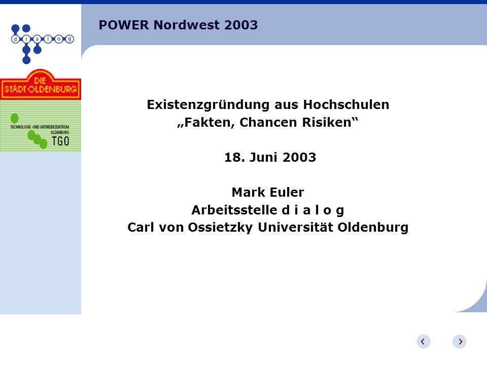 POWER Nordwest 2003 Existenzgründung aus Hochschulen Fakten, Chancen Risiken 18.