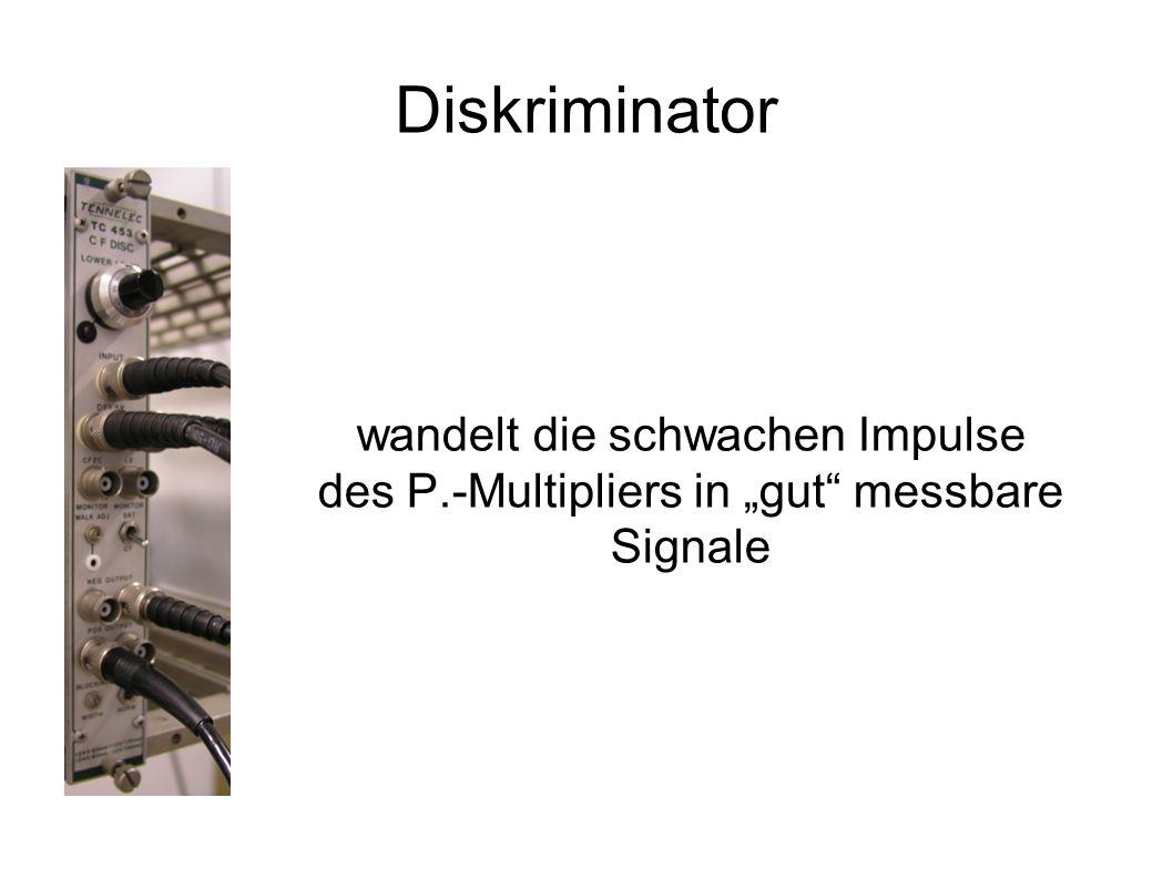 Diskriminator wandelt die schwachen Impulse des P.-Multipliers in gut messbare Signale