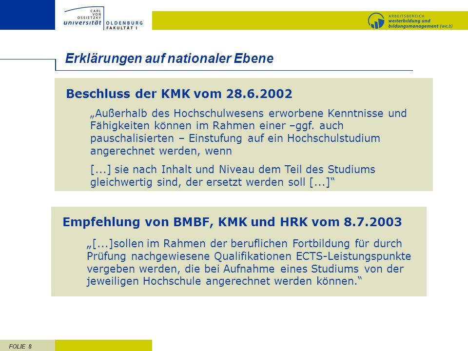 FOLIE 8 Beschluss der KMK vom 28.6.2002 Außerhalb des Hochschulwesens erworbene Kenntnisse und Fähigkeiten können im Rahmen einer –ggf. auch pauschali