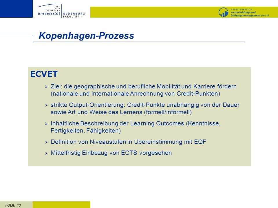 FOLIE 13 ECVET Ziel: die geographische und berufliche Mobilität und Karriere fördern (nationale und internationale Anrechnung von Credit-Punkten) strikte Output-Orientierung: Credit-Punkte unabhängig von der Dauer sowie Art und Weise des Lernens (formell/informell) Inhaltliche Beschreibung der Learning Outcomes (Kenntnisse, Fertigkeiten, Fähigkeiten) Definition von Niveaustufen in Übereinstimmung mit EQF Mittelfristig Einbezug von ECTS vorgesehen Kopenhagen-Prozess