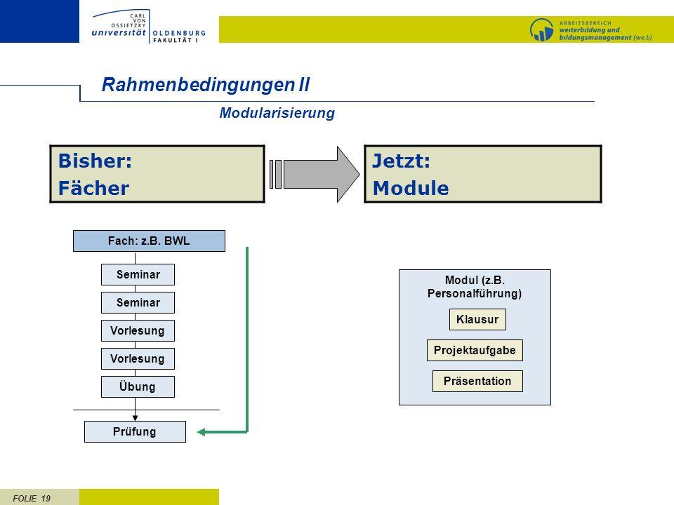 FOLIE 19 Rahmenbedingungen II Fach: z.B.BWL Seminar Prüfung Seminar Vorlesung Übung Modul (z.B.