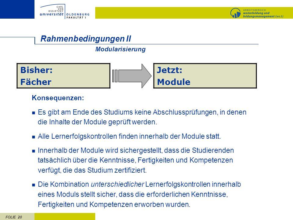 FOLIE 20 Rahmenbedingungen II Bisher: Fächer Jetzt: Module Konsequenzen: Es gibt am Ende des Studiums keine Abschlussprüfungen, in denen die Inhalte der Module geprüft werden.
